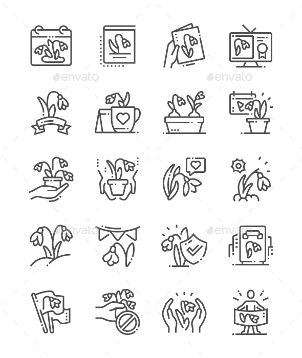 The Day of Snowdrop Line Icons - Seasonal Icons