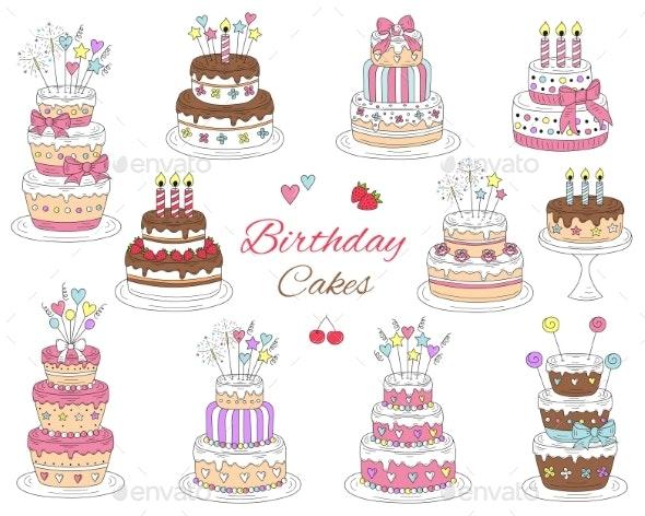 Birthday Cakes Set - Birthdays Seasons/Holidays