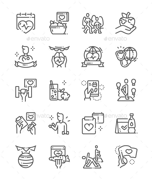 World Health Day Line Icons - People Characters