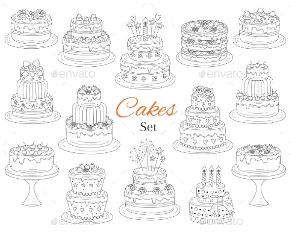 Cakes Set - Food Objects