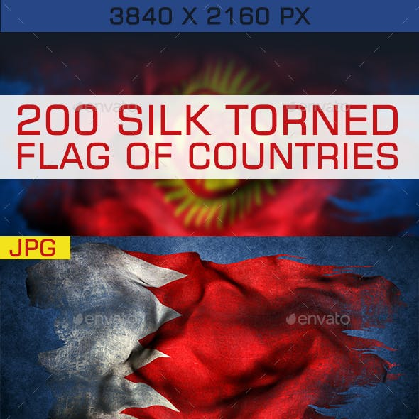 200 TORN SILK FLAG OF COUNTRIES