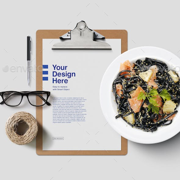 Clipboard with Food and Desk Mockup
