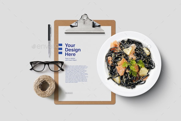 Clipboard with Food and Desk Mockup - Product Mock-Ups Graphics