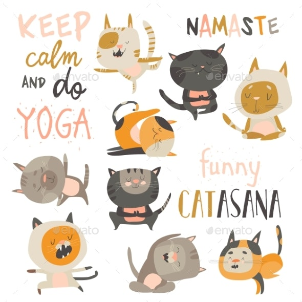 Set of Cats in Yoga Asana Postures - Animals Characters