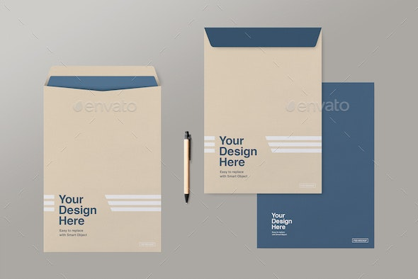 C4 Envelopes Mockup - Print Product Mock-Ups