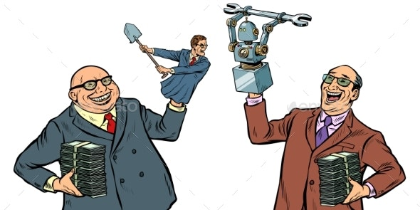 People Against Robots War for the Workplace - Concepts Business