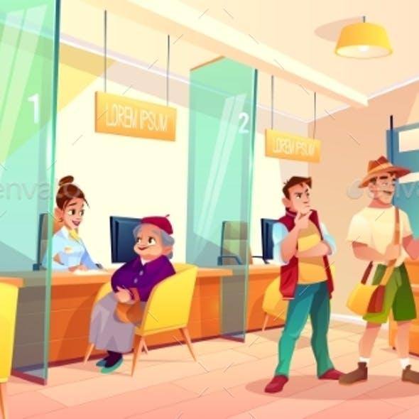 Bank Clients in Reception Area Cartoon Vector