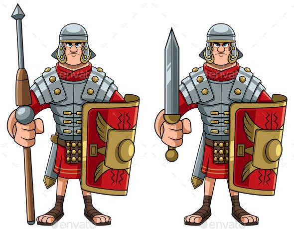 Roman Soldier on White - People Characters