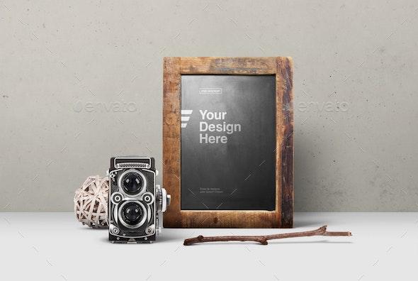 Rustic Chalkboard Old Camera Mockup - Product Mock-Ups Graphics