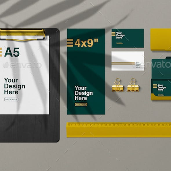 Golden Stationery Top View Mockup