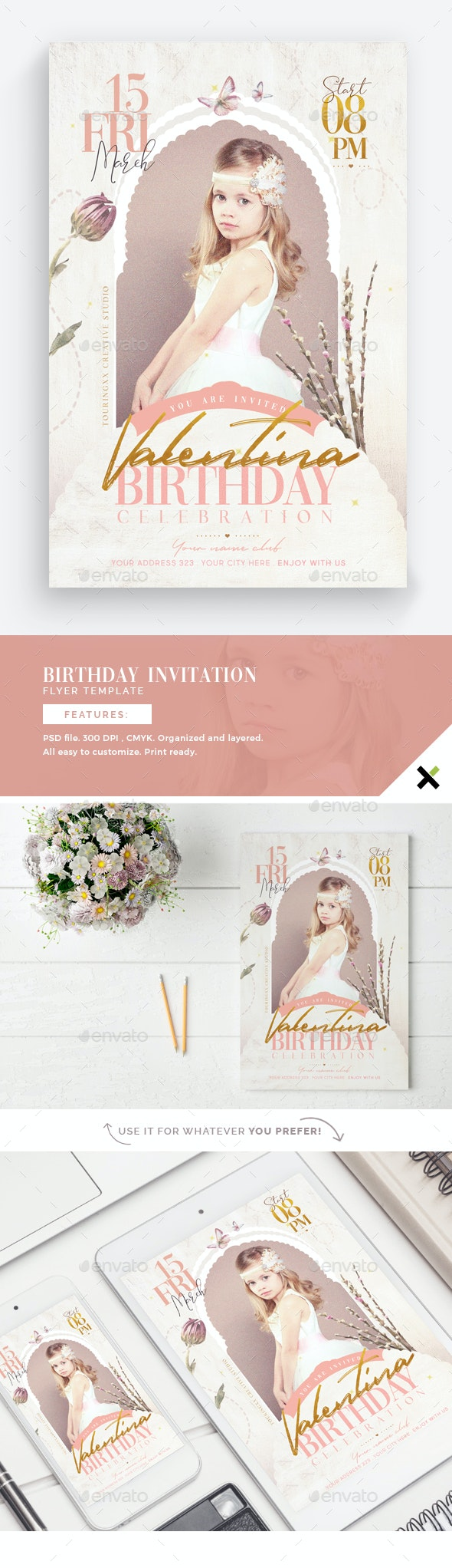 Birthday Invitation Flyer Template - Flyers Print Templates