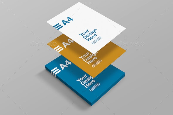 A4 Perspective Mockups - Flyers Print