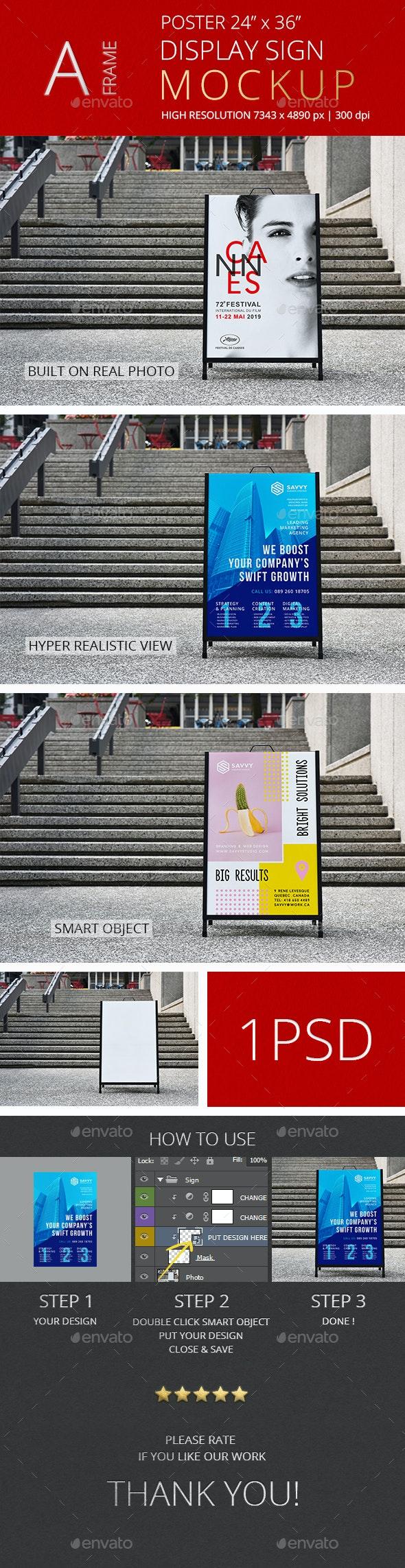 A-Frame Poster Display Sign Mockup/ Vol 1.0 - Signage Print