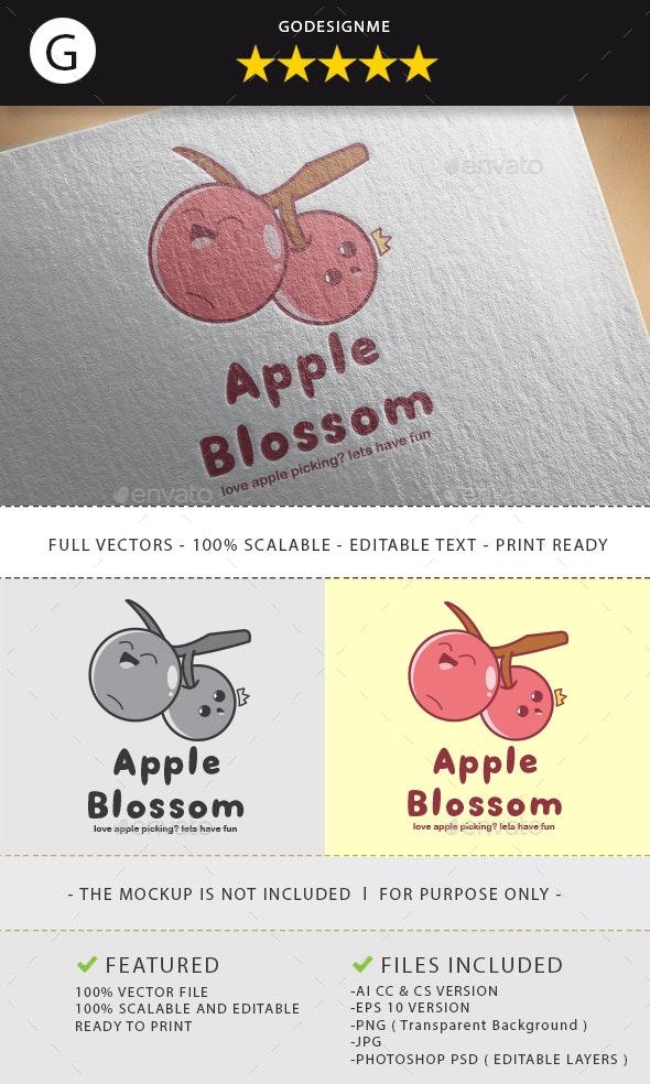 Apple Blossom Logo Design - Vector Abstract