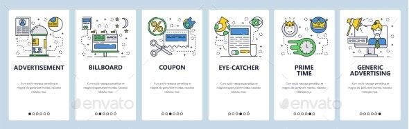 Web Site Onboarding Screens for Marketing - Web Elements Vectors