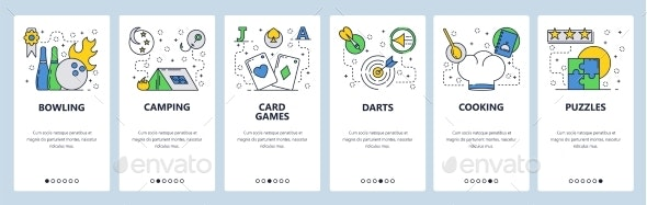 Web Site Onboarding Screens for Leisure Time - Web Elements Vectors