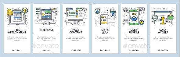Web Site Onboarding Screens for Data Management - Web Elements Vectors