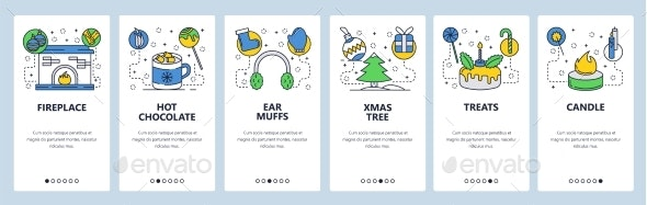 Web Site Onboarding Screens for Winter Holiday - Web Elements Vectors