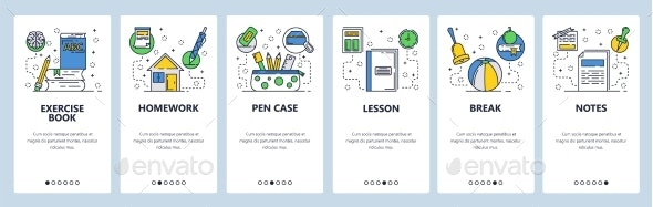 Web Site Onboarding Screens for School Education - Web Elements Vectors