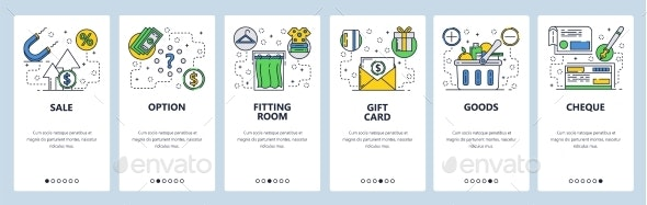 Web Site Onboarding Screens for Shopping and Sales - Web Elements Vectors