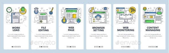 Web Site Onboarding Screens for Web Page Content - Web Elements Vectors