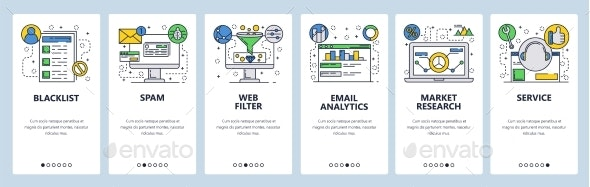 Web Site Onboarding Screens for Web Services - Web Elements Vectors