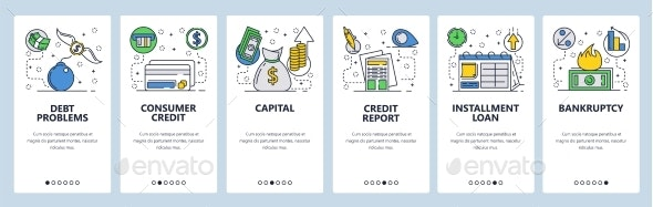 Web Site Onboarding Screens for Credit Card and Debt - Web Elements Vectors