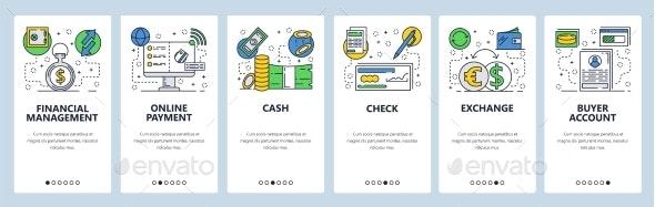 Web Site Onboarding Screens for Online Payments - Web Elements Vectors