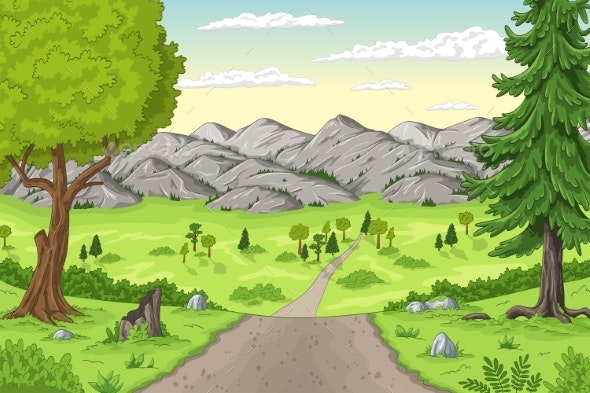 Cartoon Summer Landscape - Flowers & Plants Nature