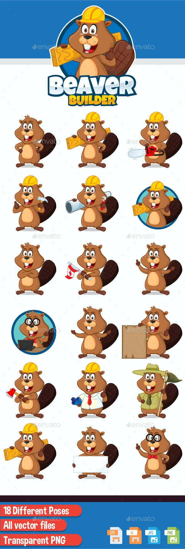 Beaver Builder Mascot - Animals Characters