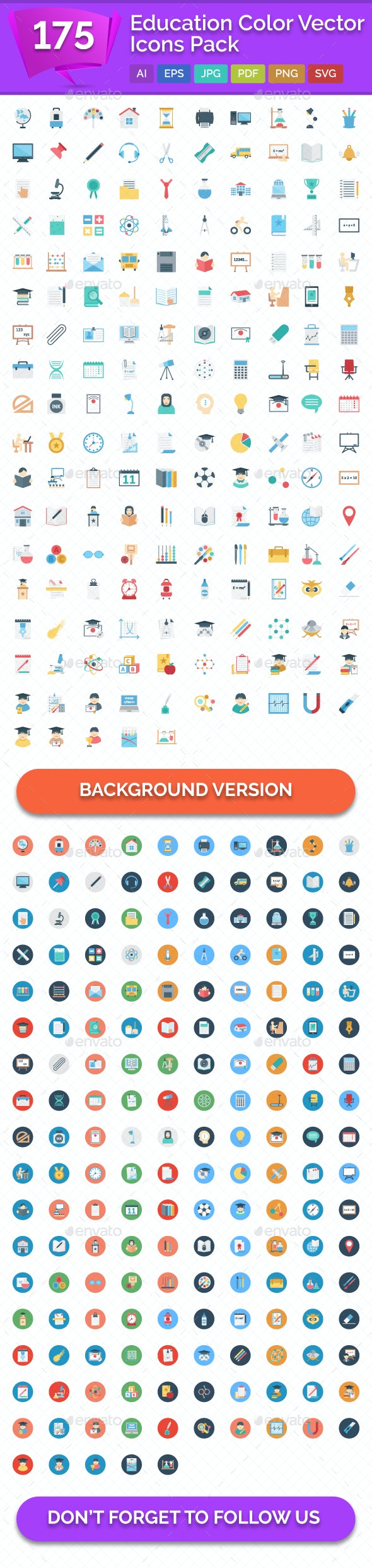 175 Education Color Vector Icons Pack - Icons