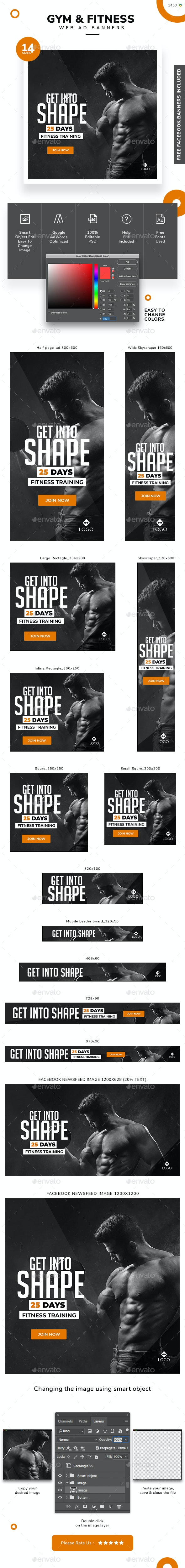 Fitness Banner Set - Banners & Ads Web Elements
