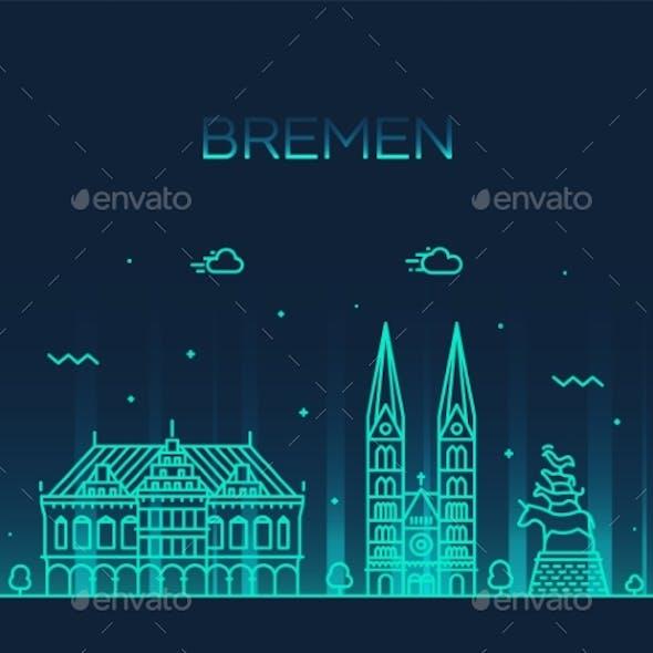 Bremen Skyline Germany Vector City Linear Style