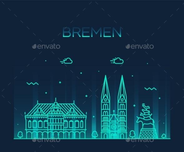 Bremen Skyline Germany Vector City Linear Style - Buildings Objects