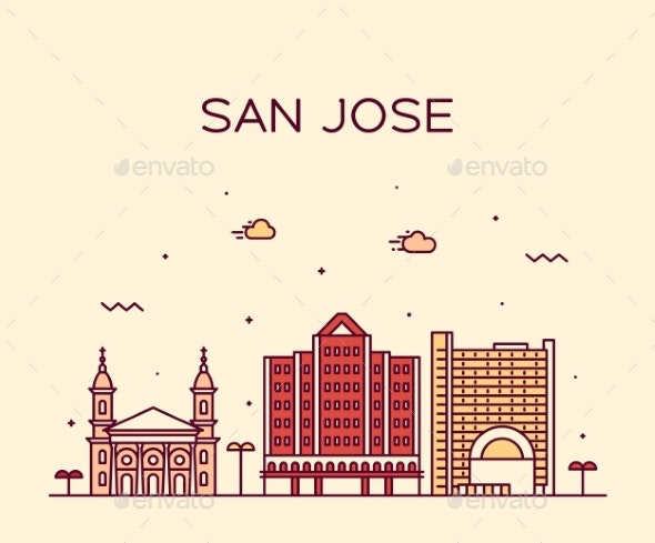 San Jose Skyline Northern California USA Vector - Buildings Objects