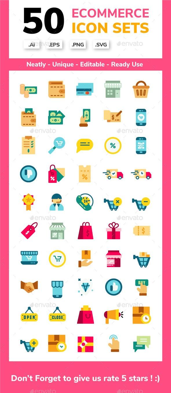 Ecommerce Flat Icon set - Icons