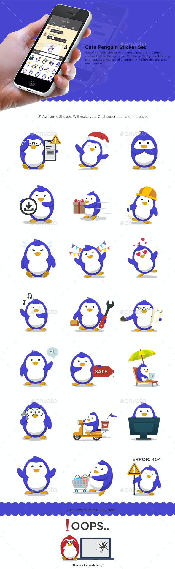 Penguin Stickers Set - Animals Characters