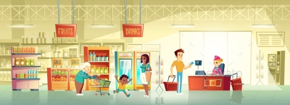 People in Supermarket Interior Cartoon Vector - Backgrounds Business