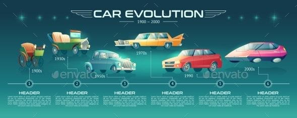 Cars Design Evolution Cartoon Vector Infographics - Miscellaneous Conceptual