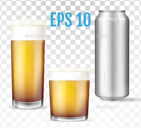 Beer Glasses Metal Can of Cold Beer - Backgrounds Decorative