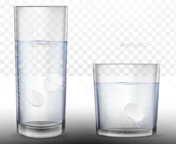 Realistic Effervescent Tablets in Glass of Water. - Food Objects