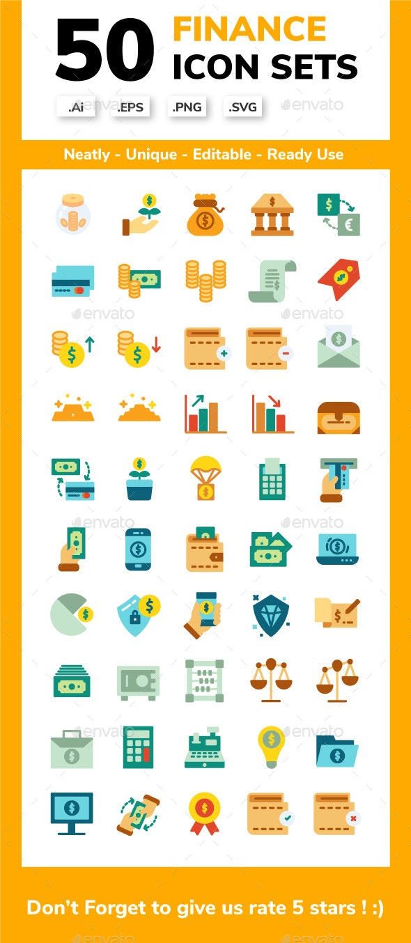 Finance - Flat Icon Sets - Business Icons