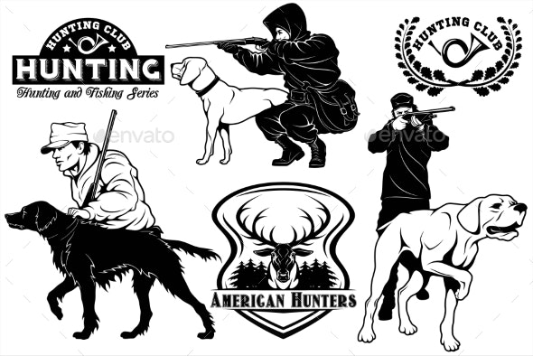Set of Hunting Club Labels - Animals Characters