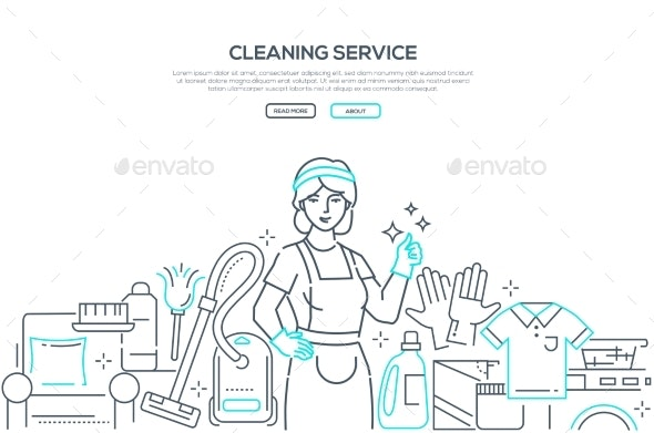 Cleaning Service - Modern Line Design Style Web - Services Commercial / Shopping