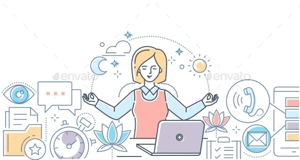 Mindfulness at Work - Modern Line Design Style - Concepts Business