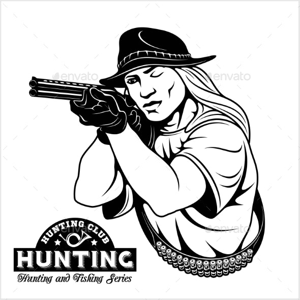 Woman Aims From a Rifle - Hunting Emblem - Sports/Activity Conceptual