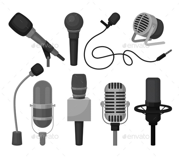 Flat Vector Set of Different Microphones - Man-made Objects Objects