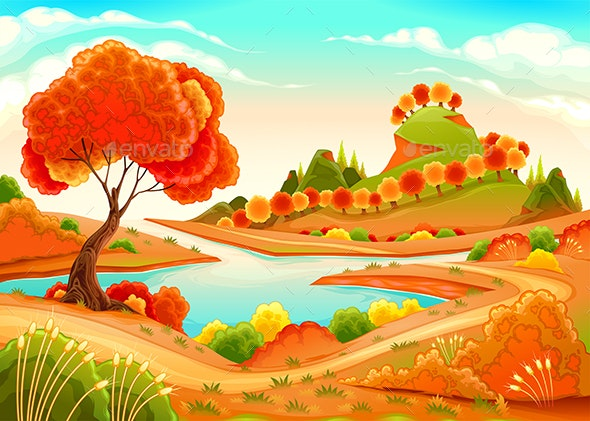 Landscape with Pond Trees and Hills - Landscapes Nature