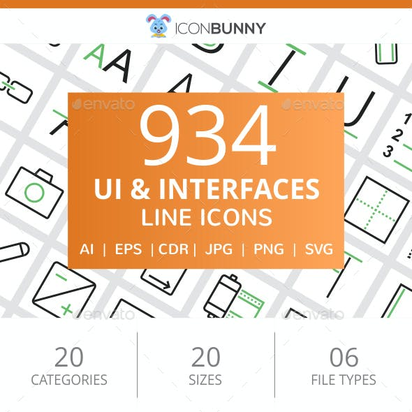 934 UI & Interfaces Line Green & Black Icons