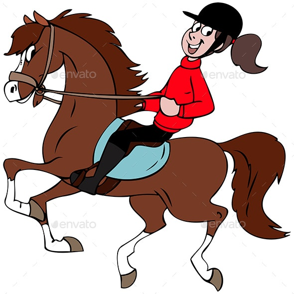 Girl Riding a Horse - Animals Characters
